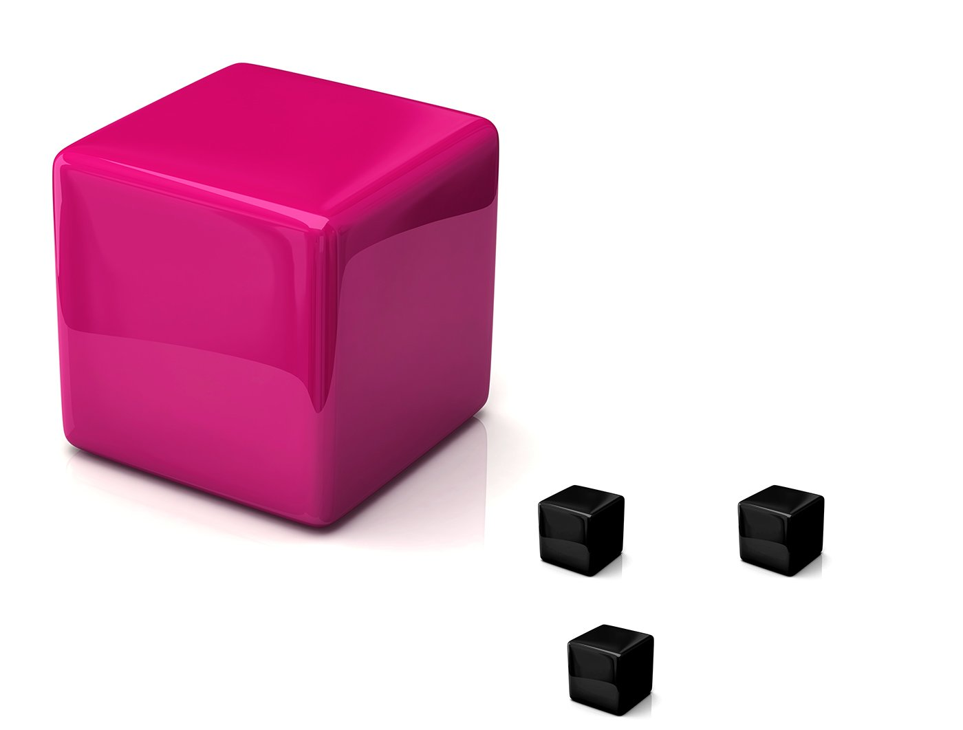 large cube defending from smaller black cubes