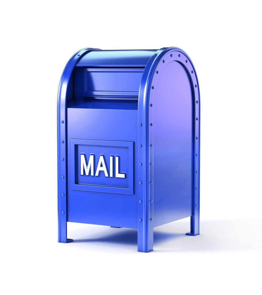 blue traditional mailbox