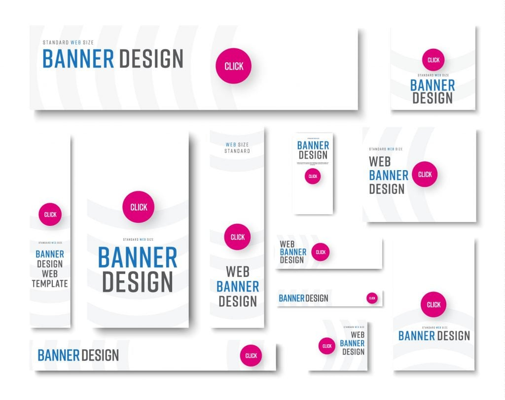 a set of different sized website banners