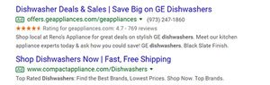 ppc results shown on a serp