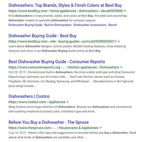 organic results shown on a serp