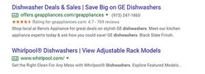 2nd part of ppc results on a serp